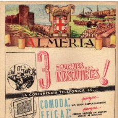 Carteles Publicitarios: ALMERIA, CARTELITO PUBLICITARIO DE LA GUIA TELEFONICA 1954. Lote 14513953