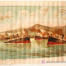 Carteles Publicitarios: CARTEL BARCOS, GUERRA DE CUBA, ESCUADRA DEL ALMIRANTE CERVERA ,1898, LITOGRAFIA SOLER. Lote 24413188