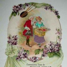 Carteles Publicitarios: ANTIGUO CROMO TROQUELADO GRANDE PUBLICIDAD DE COMESTIBLES FINOS EMILIO VALLE, HUMILLADERO, 12 DE MAD. Lote 15177207