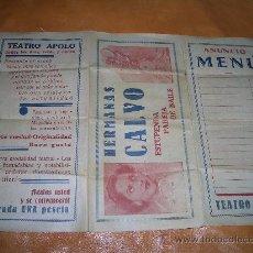 Carteles Publicitarios: CARTEL TEATRO APOLO -MIRAR PARTE TRASERA CAJA Nº 3. Lote 15275238