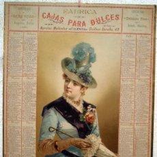 Carteles Publicitarios: CARTEL PUBLICIDAD CAJAS PARA DULCES N MELENDEZ VALENCIA, 1889 CALENDARIO CARTON ,EN ESPAÑOL, LITOG. Lote 24848428