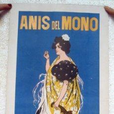 Carteles Publicitarios: CARTEL PUBLICIDAD ANIS DEL MONO ,DE RAMON CASAS , FONDO AZUL, LEER DESCRIPCION. Lote 26065957