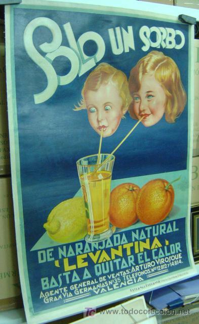 Carteles Publicitarios: Cartel Naranjada LEVANTINA, años 1910-20 - ENTELADO - Foto 2 - 26606267