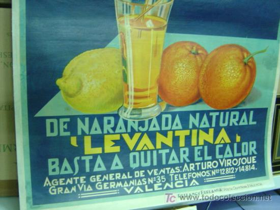 Carteles Publicitarios: Cartel Naranjada LEVANTINA, años 1910-20 - ENTELADO - Foto 4 - 26606267