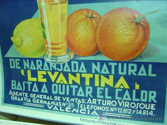 Carteles Publicitarios: Cartel Naranjada LEVANTINA, años 1910-20 - ENTELADO - Foto 5 - 26606267