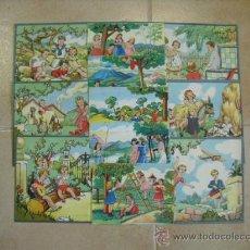 Cartazes Publicitários: LOTE DE 40 CARTELITOS DE JUEGOS DE NIÑOS TODOS DIFERENTES AÑOS 50. Lote 223454583