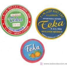 Carteles Publicitarios: 3 ETIQUETAS/CARTELES PUBLICITARIOS NARANJAS VILLAREAL/CASTELLON.TEKA. Lote 18863477