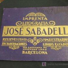 Carteles Publicitarios: CARTEL CARTON - IMPRENTA LITOGRAFIA - JOSE SABADELL - VIA LAYETANA, 94 - BARCELONA - . Lote 20158464