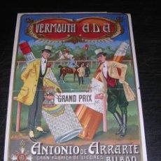 Carteles Publicitarios: CARTELITO VERMOUTH ADA, ANTONIO DE ARRARTE - BILBAO, GRAN FABRICA DE LICORES, CARTEL ORIGINAL . Lote 27619167