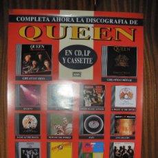 Carteles Publicitarios: QUEEN - DISCOGRAFÍA COMPLETA - EMI - 66 X 47 CMS. Lote 27565169