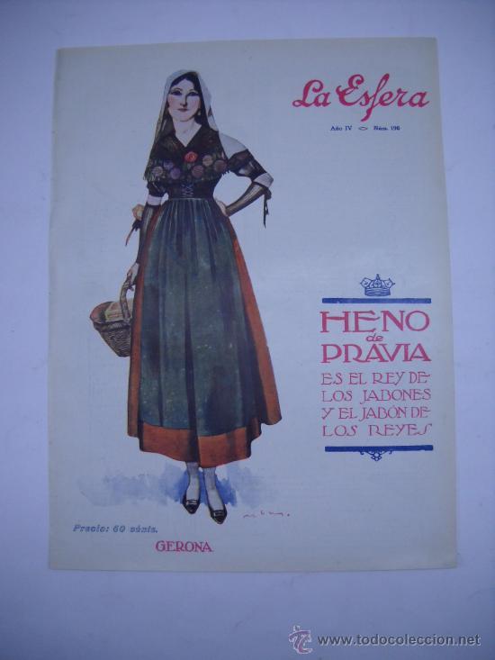 última colección calidad autentica bonito diseño PORTADA REVISTA LA ESFERA AÑO 1917. MUJER CON TRAJE REGIONAL DE GERONA .  26X35 CMS