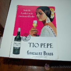 Affissi Pubblicitari: HOJA PUBLICITARIA ALCOHÓLICA DE JEREZ TÍO PEPE, DE GONZÁLEZ BYASS. AÑOS 60. Lote 21593017