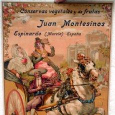 Carteles Publicitarios: CARTEL PUBLICIDAD JUAN MONTESINOS CONSERVAS VEGETALES,CARRUAJE CON RELIEVE , ESPINARDO MURCIA CARTON. Lote 21762970
