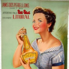 Carteles Publicitarios: CARTEL PUBLICIDAD ANIS DOS PERELLONS, LICOR ILUSION, LLUBI MALLORCA DE DONAT , CARTULINA. Lote 21763753