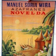 Carteles Publicitarios: CARTEL PUBLICIDAD AZAFRANES EL NEGRITO , NOVELDA ALICANTE, MANUEL SORIA MIRA, CARTULINA. Lote 21763882