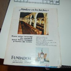 Carteles Publicitarios: HOJA PUBLICITARIA ALCOHÓLICA DE COÑAC FUNDADOR, DE DOMECQ. 1967. Lote 22186139