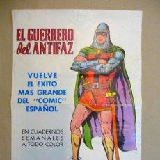Carteles Publicitarios: CARTEL PUBLICITARIO, KIOSCO, EL GUERRERO DEL ANTIFAZ, 1972, DEL COMIC, MEDIDAS: 55X38 CM, ORIGINAL. Lote 22646030
