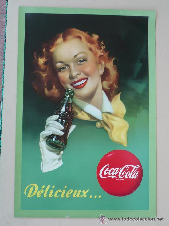Antiguo Cartel Coca Cola Pin Up Original Años Vendido En Venta