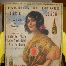 Carteles Publicitarios: FABRICA DE LICORS LICORES ENRIC LLADO CARTEL PUBLICITARIO ARENYS DE MUNT AÑOS 30. Lote 25136496