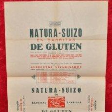 Carteles Publicitarios: CARTEL PUBLICITARIO DE NATURA-SUIZO EN BARRITAS DE GLUTEN. AÑOS 40S. MIDE 62 CM X 43 CM. . Lote 25315851