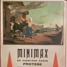 Carteles Publicitarios: MINIMAX- CARTEL ANTIGUO- ORIGINAL- MEDIDAS 88 X 57 - VER FOTOS ADICIONALES- (CARTEL-11). Lote 25221128