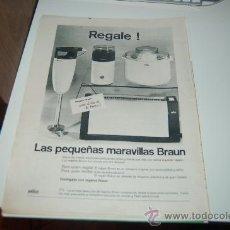 Affissi Pubblicitari: HOJA PUBLICITARIA DE PEQUEÑOS ELECTRODOMÉSTICOS BRAUN. 1968. Lote 25547266