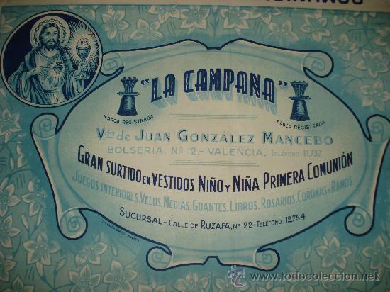 Carteles Publicitarios: Antiguo Cartel de **Comuniones LA CAMPANA** en la Calle Bolseria de VALENCIA . Año 1940-50s. - Foto 3 - 27469549