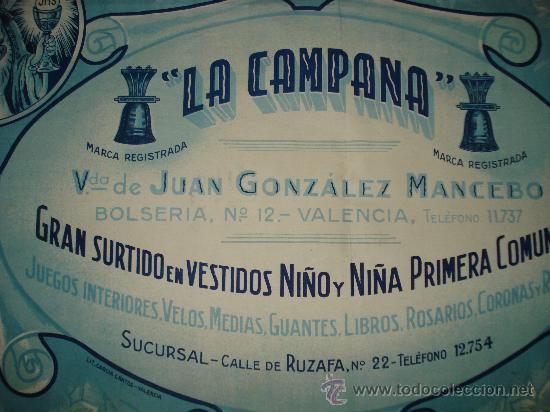 Carteles Publicitarios: Antiguo Cartel de **Comuniones LA CAMPANA** en la Calle Bolseria de VALENCIA . Año 1940-50s. - Foto 2 - 27469549