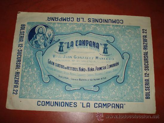 ANTIGUO CARTEL DE **COMUNIONES LA CAMPANA** EN LA CALLE BOLSERIA DE VALENCIA . AÑO 1940-50S. (Coleccionismo - Carteles Gran Formato - Carteles Publicitarios)