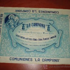 Carteles Publicitarios: ANTIGUO CARTEL DE **COMUNIONES LA CAMPANA** EN LA CALLE BOLSERIA DE VALENCIA . AÑO 1940-50S.. Lote 27469549