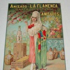 Carteles Publicitarios: ANTIGUO CARTEL DE PUBLICIDAD - ANISADO LA FLAMENCA - ANISADOS Y LICORES - JOAQUIN GARCIA - CONSTAN. Lote 27487473