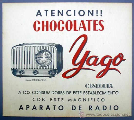 CARTEL PUBLICITARIO DE CHOCOLATE. CHOCOLATES YAGO. CERVERA, LERIDA, SIN FECHA. (Coleccionismo - Carteles Gran Formato - Carteles Publicitarios)