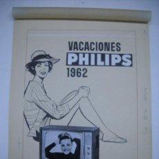 Carteles Publicitarios: CARTEL ORIGINAL PUBLICIDAD TELEVISOR PHILIPS 1962.DIBUJO ORIGINAL COLLAGE CON FOTO DE CARMEN SEVILLA. Lote 27899287