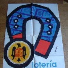 Carteles Publicitarios: INTERESANTE Y ANTIGUO CARTEL DE LOTERIA NACIONAL CON AGUILA 100 X 67 CM. Lote 28054900
