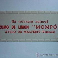 Carteles Publicitarios: CARTON - ZUMO DE LIMON MOMPO - AÑOS 1940-50 - AYELO DE MALFERIT, VALENCIA. Lote 28423668
