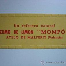 Carteles Publicitarios: CARTON - ZUMO DE LIMON MOMPO - AÑOS 1940-50 - AYELO DE MALFERIT, VALENCIA. Lote 28423687