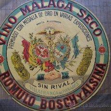 Carteles Publicitarios: ETIQUETA VINO MALAGA SECO DE ROMULO BOSCH Y ALSINA VILAFRANCA DEL PANADES PENEDES 33 CM . Lote 28545148