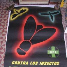 Carteles Publicitarios: CARTEL D.D.T. CRUZ VERDE,CONTRA LOS INSECTOS, AUTOR ARTIGAS ,LIT.I.G. VILADOT S.L. BARCELONA 100X70 . Lote 28592445