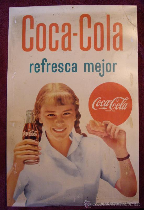 Cartel original de coca cola a os 50 60 comprar carteles - Carteles publicitarios antiguos ...