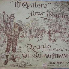 Carteles Publicitarios: CARTEL-PARTITURA,EL GAITERO,ASTURIAS,VILLAVICIOSA,AIRES ASTURIANOS,VALLE BALLINA,ORIGINAL,LUARCA. Lote 30356438