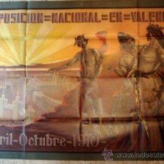 Carteles Publicitarios: CARTEL PUBLICIDAD, EXPOSICION NACIONAL VALENCIANA 1910, ESPECTACULAR, CROMOLITOGRAFIA ,ORIGINAL. Lote 31180558