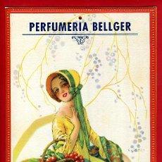 Carteles Publicitarios: CARTEL PUBLICIDAD, PERFUMERIA BELLGER, ALTEA ALICANTE, ILUSTRADOR G CAMPS, CALENDARIO 1935, ORIGINAL. Lote 31224201