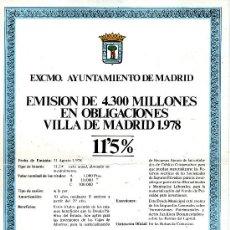 Carteles Publicitarios: EMISION DE 4300 MILLONES EN OBLIGACIONES - VILLA DE MADRID 1978. Lote 31841924