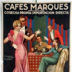 Carteles Publicitarios: CARTEL PUBLICIDAD CAFES MARQUES VALENCIA , PUERTO RICO, CARTON, , ORIGINAL. Lote 31909255