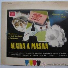 Carteles Publicitarios: PRUEBA IMPRENTA COLOR ETIQUETAS - AUXINA A MASIVA - MADRID - 1950-60. Lote 31971588