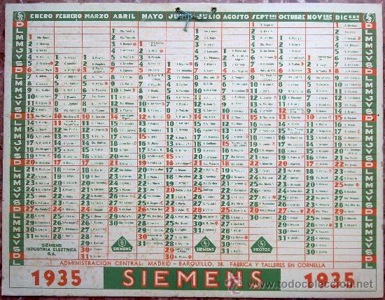 Calendario Fisico.Calendario Ano 1935 Publicidad Siemens Revers Sold