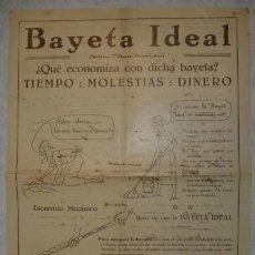 Carteles Publicitarios: BAYETA IDEAL. ECONOMIZA TIEMPO, MOLESTIAS, DINERO. ESCURRIDO MECANICO. CARTEL 32 X 22 CM.. Lote 32262245