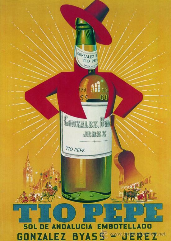 Cuadro cartel publicidad de bar reproduccion comprar for Cartel tio pepe