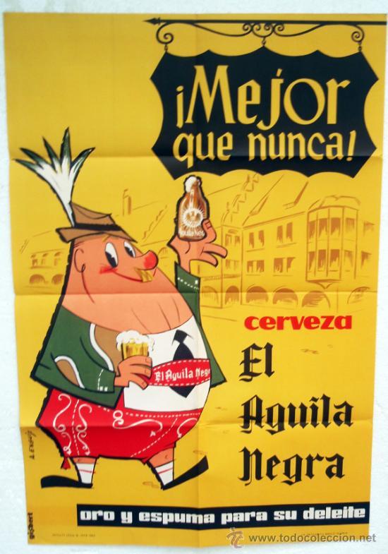 Cartel publicidad cerveza cervezas el aguila comprar - Carteles publicitarios antiguos ...
