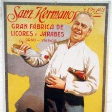 Carteles Publicitarios: CARTEL CARTON PUBLICIDAD LICORES ANIS SANZ HERMANOS GRAO VALENCIA , ORIGINAL. Lote 33108174